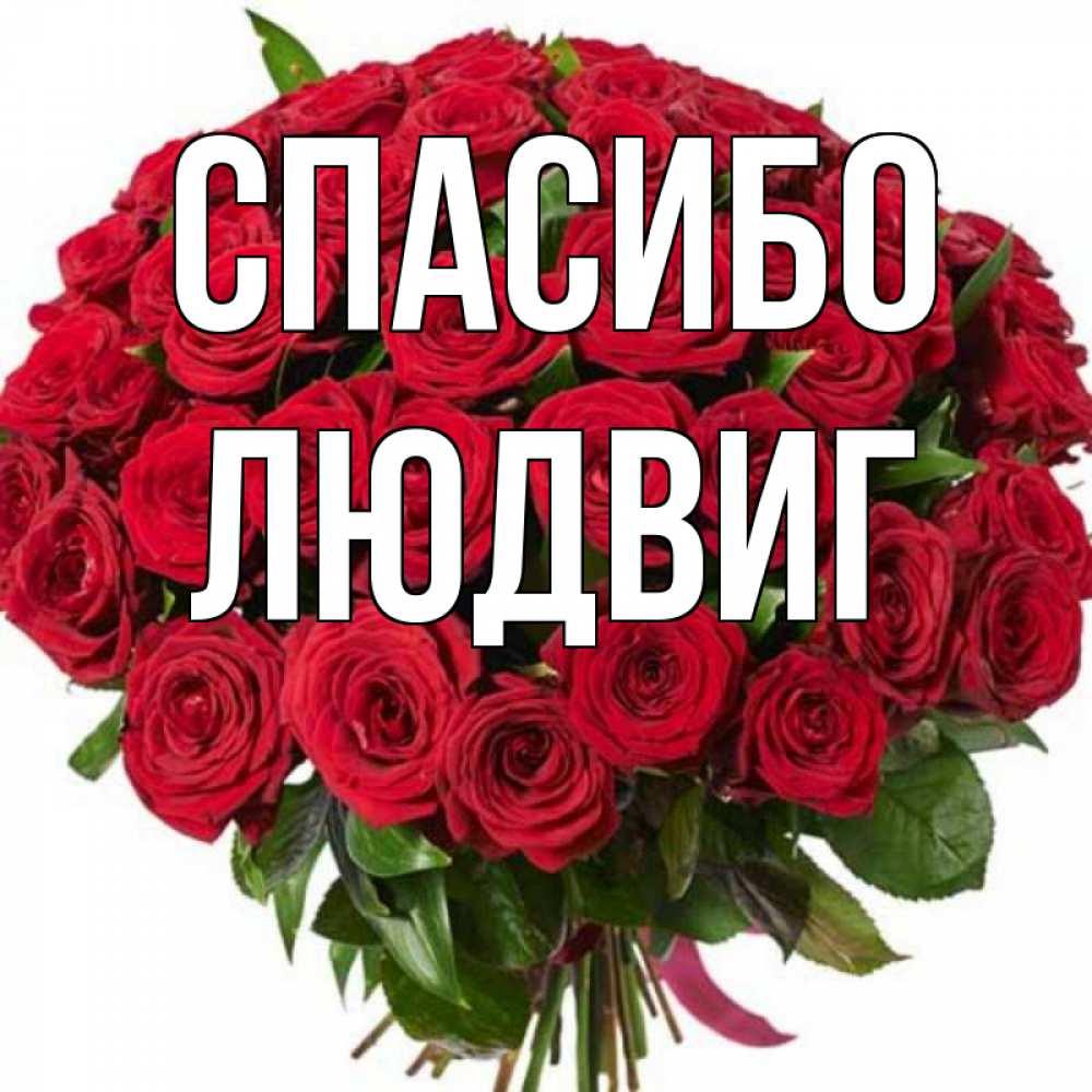 Открытка на каждый день с именем, Людвиг Спасибо букет красных роз Прикольная открытка с пожеланием онлайн скачать бесплатно
