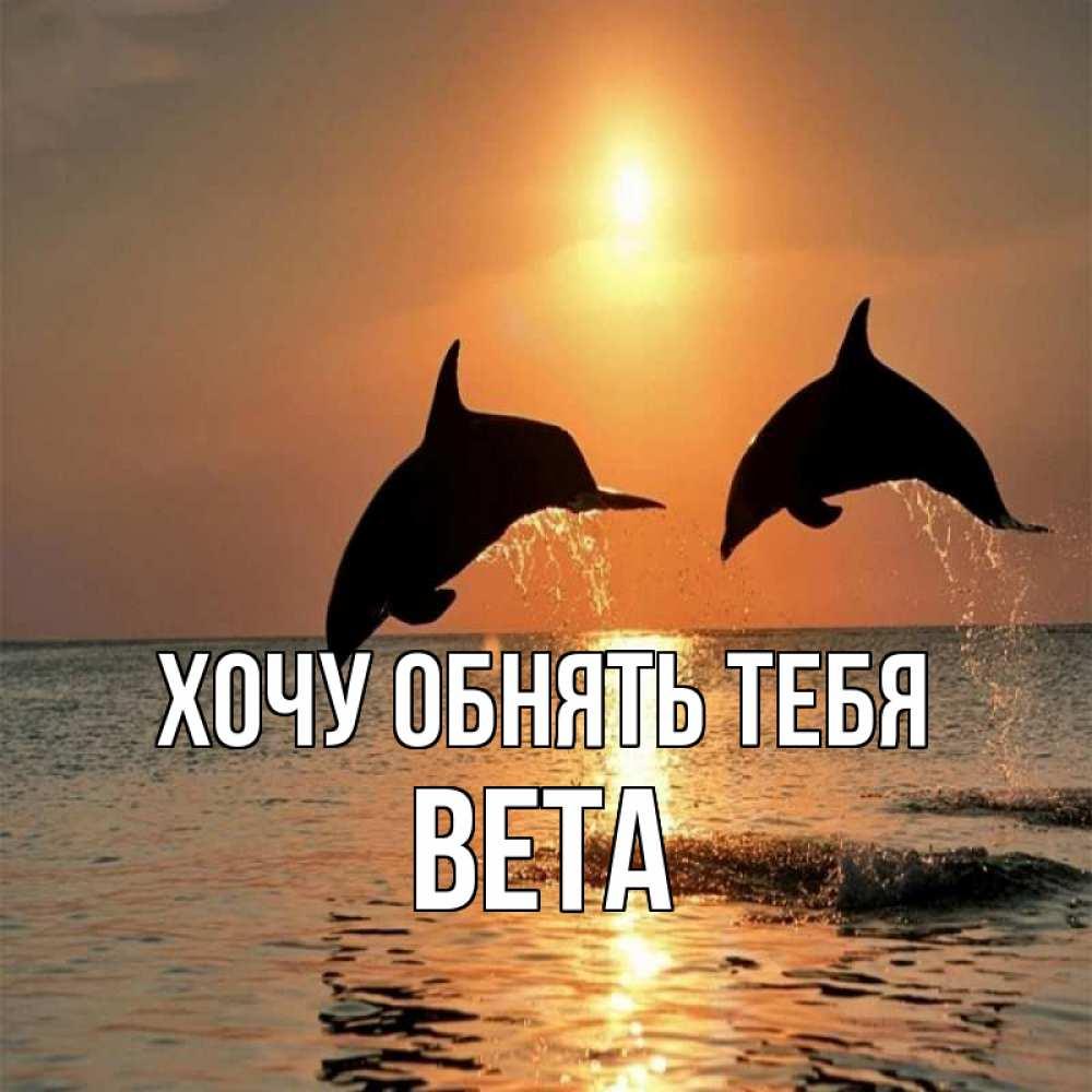 Открытка на каждый день с именем, Вета Хочу обнять тебя рыбы на закате Прикольная открытка с пожеланием онлайн скачать бесплатно