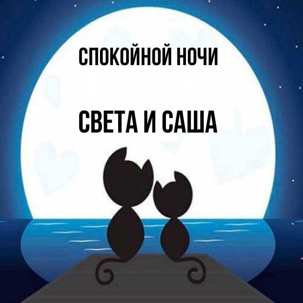 Открытка доброй ночи саша