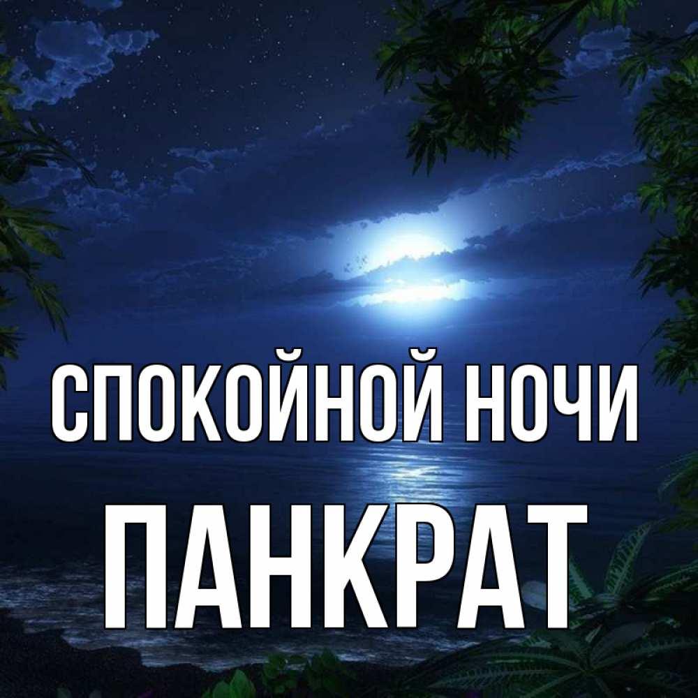 Открытка на каждый день с именем, Панкрат Спокойной ночи тропический остров Прикольная открытка с пожеланием онлайн скачать бесплатно