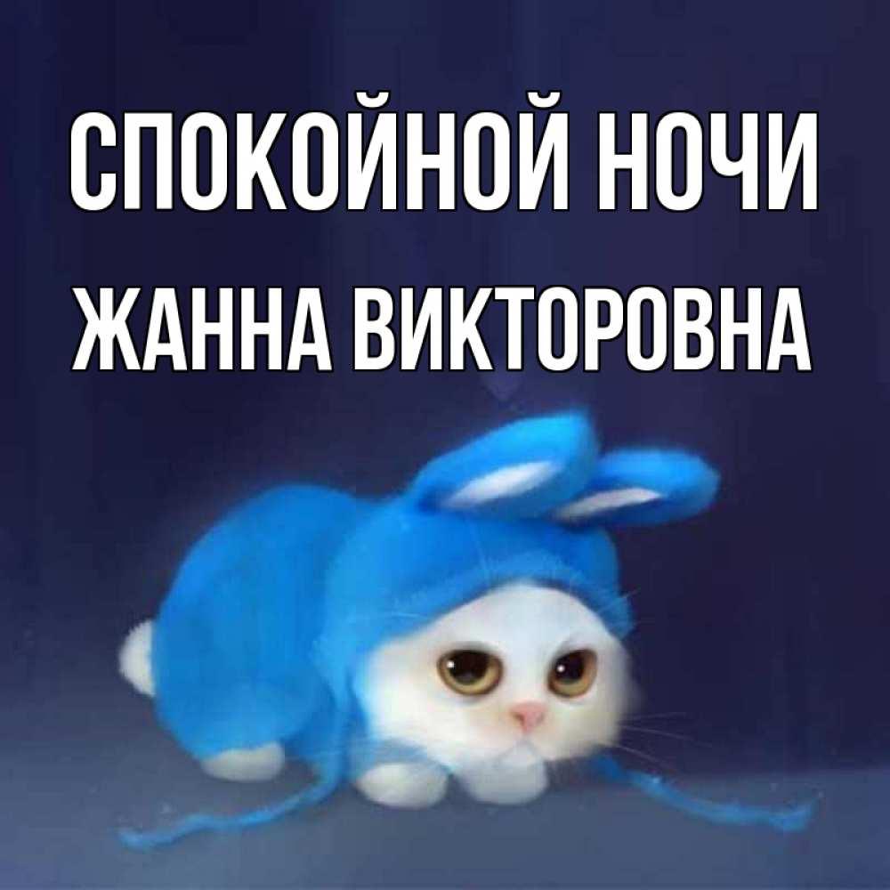 Открытка на каждый день с именем, Жанна-Викторовна Спокойной ночи кот в голубом костюме кролика с ушками Прикольная открытка с пожеланием онлайн скачать бесплатно