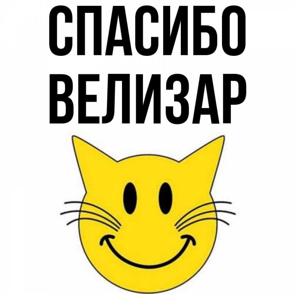 Открытка на каждый день с именем, Велизар Спасибо улыбающийся смайл кот Прикольная открытка с пожеланием онлайн скачать бесплатно