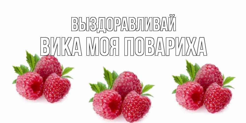 Открытка на каждый день с именем, Вика-моя-повариха Выздоравливай малиновая открыта с пожеланием о выздоровлении Прикольная открытка с пожеланием онлайн скачать бесплатно