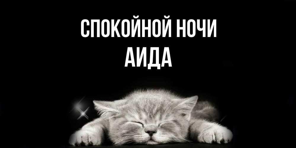 Открытка на каждый день с именем, Аида Спокойной ночи спящий котик Прикольная открытка с пожеланием онлайн скачать бесплатно