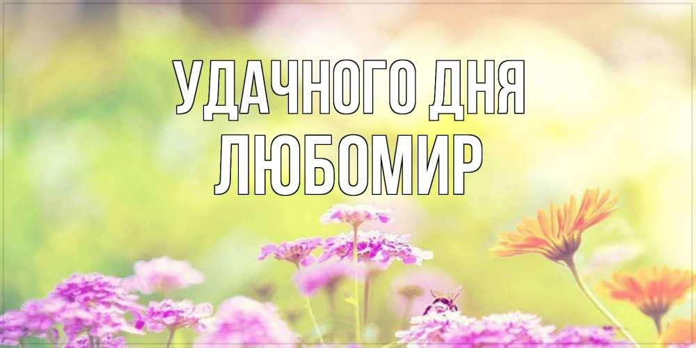 Открытка на каждый день с именем, Любомир Удачного дня красивая открытка с летней темой Прикольная открытка с пожеланием онлайн скачать бесплатно
